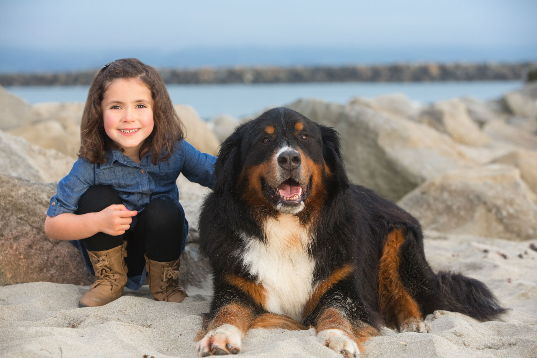 Dog and Pet Photography | Girl with Dog on Beach by Mark Rogers